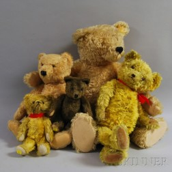 Five Antique Articulated Mohair Teddy Bears
