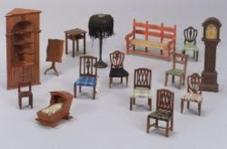 Lot of Fifteen Pieces of Tynie-Toy Doll House Furniture