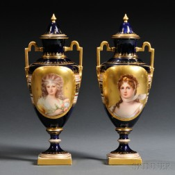 Pair of Vienna Porcelain Portrait Vases and Covers