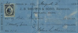 Chamberlain, Joshua Lawrence (1828-1914) Signed Check, 2 August 1880.