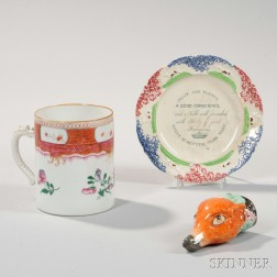 Export Mug, Spatterware Plate, and Stirrup Cup