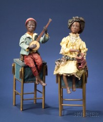 Fine Pair of Gustave Vichy Black Musician Automata