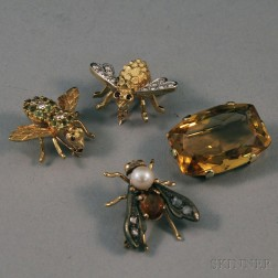 Four Gold Gem-set Brooches