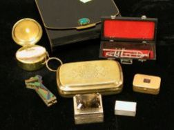 Seven Decorative Boxes, Accessories and a Miniature Silver Trumpet.