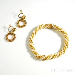 14kt Gold and Pearl Ropetwist Bracelet and a Pair of 14kt Gold Ropetwist Earrings