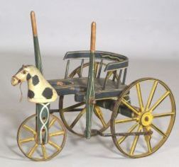 """Painted Wooden Child's """"Velocipede Coach."""""""