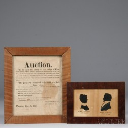 Auction Broadside and Double Silhouette Portraits