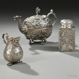 Three Repousse-decorated Pieces of Continental Silver Hollowware