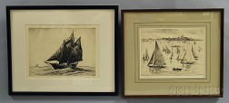 Reynolds Beal (American, 1866-1951)      Two Marine Etchings:  Yachting-Marblehead Harbor