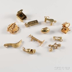 Eleven 14kt Gold Leisure-themed Figural Charms