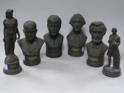 Six Wedgwood Black Basalt Busts and Figures
