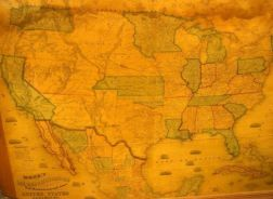 Framed Monk's Railroad & Telegraph Map in the United States