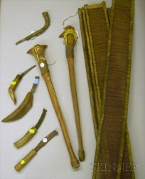Five Crooked Knives, Two Carved and Painted Root Clubs, and Four Looms.