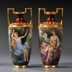 Pair of Vienna Porcelain Hand-painted Vases