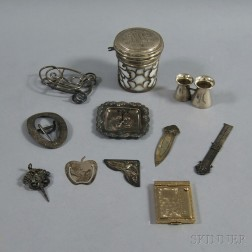 Small Collection of Mostly Sterling Silver Vanity and Novelty Items
