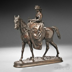 Pierre Jules Mêne (French, 1810-1879)      L'Amazone No. 2   (Equestrienne Riding Sidesaddle)