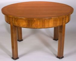 Fine Biedermeier Bird's Eye and Tiger Maple Inlaid Walnut Dining Table