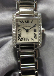 """18kt White Gold and Diamond """"Tank Francaise"""" Wristwatch, Cartier"""