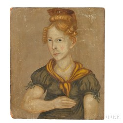 American School, 19th Century      Portrait of a Blonde-haired Woman in a Green Dress.