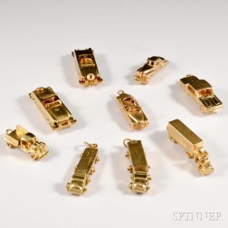 Nine 14kt Gold Automobile Charms