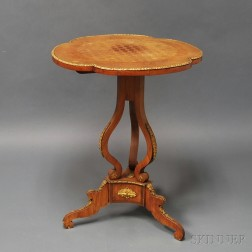 Louis XV-style Walnut Veneer Parquetry Inlaid Side Table