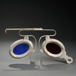 Wrought Iron and Colored Glass Optometrist's Sign