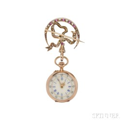 Antique Ruby and Diamond Open-face Pendant Watch
