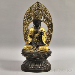Large Parcel-gilt Bronze Guanyin