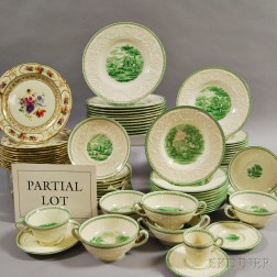 Partial Set of Wedgwood Green Torbay-pattern Dinnerware
