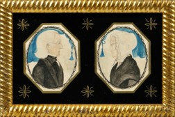 Thomas Skynner (New England, act. 1840-1852)    Double Profile Portrait of a Husband and Wife