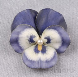 Art Nouveau 14kt Gold and Enamel Pansy Brooch, A.J. Hedges & Co.