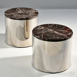Pair of Low Modern Cylinder Tables