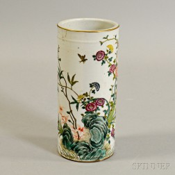 Famille Rose Brush Pot