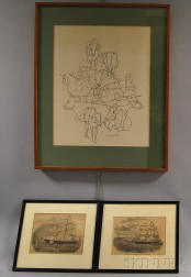 Two Framed Hand-colored Engravings of Clippers and a Study of Cows