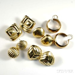 Five Pairs of 14kt Gold Retro Earrings