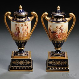 Pair of Vienna Porcelain Covered Urns