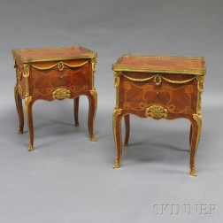 Pair of Small Louis XV-style Ormolu-mounted Tulipwood Commodes