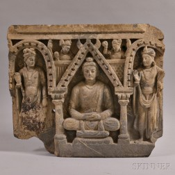 Small Carved Stone Stele with Buddha