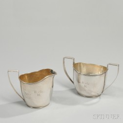 Hand Hammered Sterling Silver Creamer and Sugar