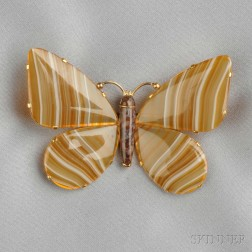 14kt Gold and Agate Butterfly Brooch