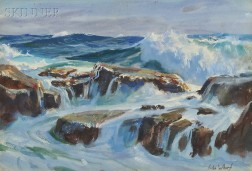 John Whorf  (American, 1903-1959)      Marine #2 /  Rocks and Surf