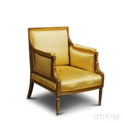 Louis XVI-style Carved, Painted, and Upholstered Bergere
