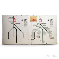 Two MBTA Enameled Green Line Maps