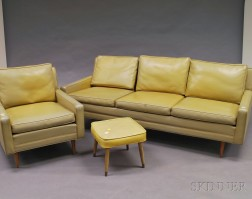 Milo Baughman for Thayer Coggin Faux Leather and Walnut Sofa and Lounge Chair
