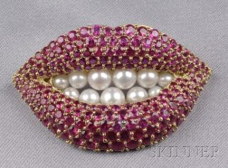 18kt Gold, Ruby, and Cultured Pearl Lips Brooch, Henryk Kaston, Designed by Dali