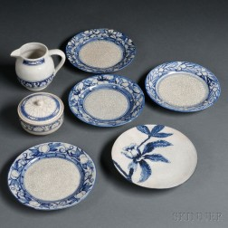 Five Dedham Pottery Plates, a Pitcher, and a Covered Bowl