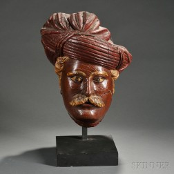Carved and Painted Turk's Head Countertop Tobacconist Figure