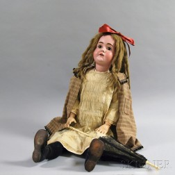 Large Kestner Bisque Head Girl Doll