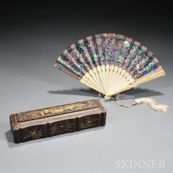 Carved Ivory and Painted Fan