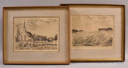 Maurice de Vlaminck (French, 1876-1958)      Two Framed Landscape Etchings: Meadow